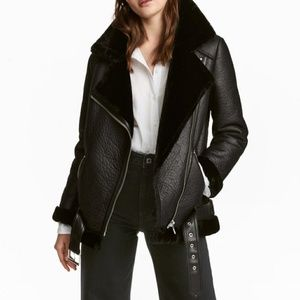 Stylish Oversized Fur Lined Leather Jacket Chic 6